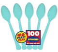 Party Favors - Big Party Pack - Robbins Egg Blue - Plastic Spoons - 100ct