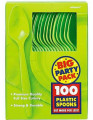Party Favors - Big Party Pack - Kiwi - Plastic Spoons - 100ct