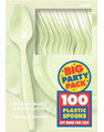 Party Favors - Big Party Pack - Leaf Green - Plastic Spoons - 100ct