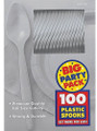 Party Favors - Big Party Pack - Silver - Plastic Spoons - 100ct