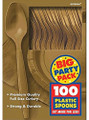 Party Favors - Big Party Pack - Gold - Plastic Spoons - 100ct