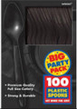 Party Favors - Big Party Pack - Black - Plastic Spoons - 100ct