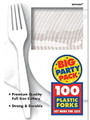 Party Favors - Big Party Pack - White - Plastic Forks - 100ct
