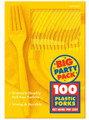 Party Favors - Big Party Pack - Sunshine Yellow - Plastic Forks - 100ct