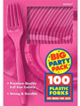 Party Favors - Big Party Pack - Bright Pink - Plastic Forks - 100ct