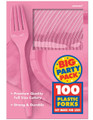 Party Favors - Big Party Pack - New Pink - Plastic Forks - 100ct