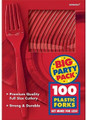 Party Favors - Big Party Pack - Red - Plastic Forks - 100ct