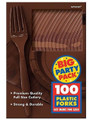 Party Favors - Big Party Pack - Brown - Plastic Forks - 100ct