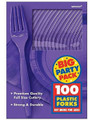 Party Favors - Big Party Pack - New Purple - Plastic Forks - 100ct