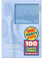 Party Favors - Big Party Pack - Pastel Blue - Plastic Forks - 100ct