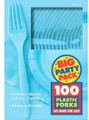 Party Favors - Big Party Pack - Caribbean Blue - Plastic Forks - 100ct