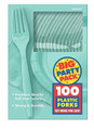 Party Favors - Big Party Pack - Robbins Egg Blue - Plastic Forks - 100ct