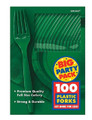 Party Favors - Big Party Pack - Festive Green - Plastic Forks - 100ct