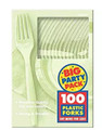 Party Favors - Big Party Pack - Leaf Green - Plastic Forks - 100ct