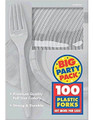 Party Favors - Big Party Pack - Silver - Plastic Forks - 100ct