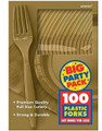 Party Favors - Big Party Pack - Gold - Plastic Forks - 100ct