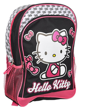Backpack - Hello Kitty - Large 16 Inches - Black and Glittery