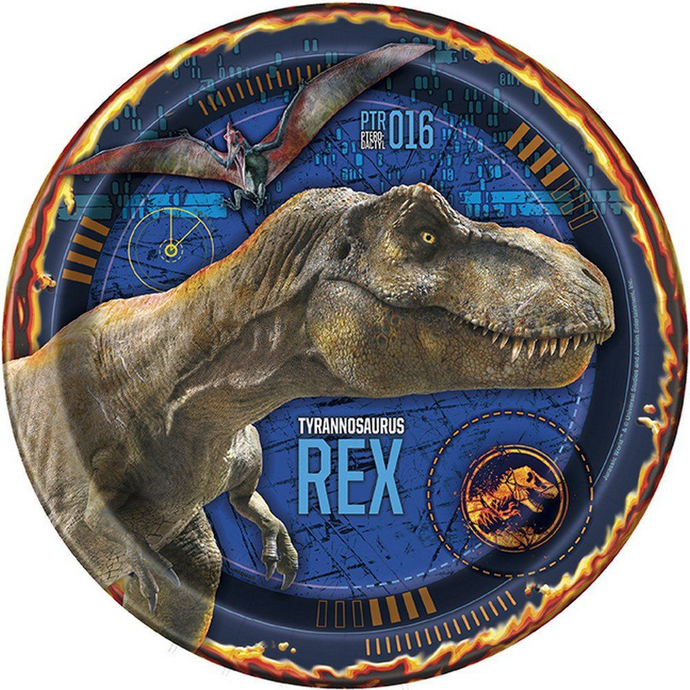 Jurassic World Large Plates 8ct Party Supplies