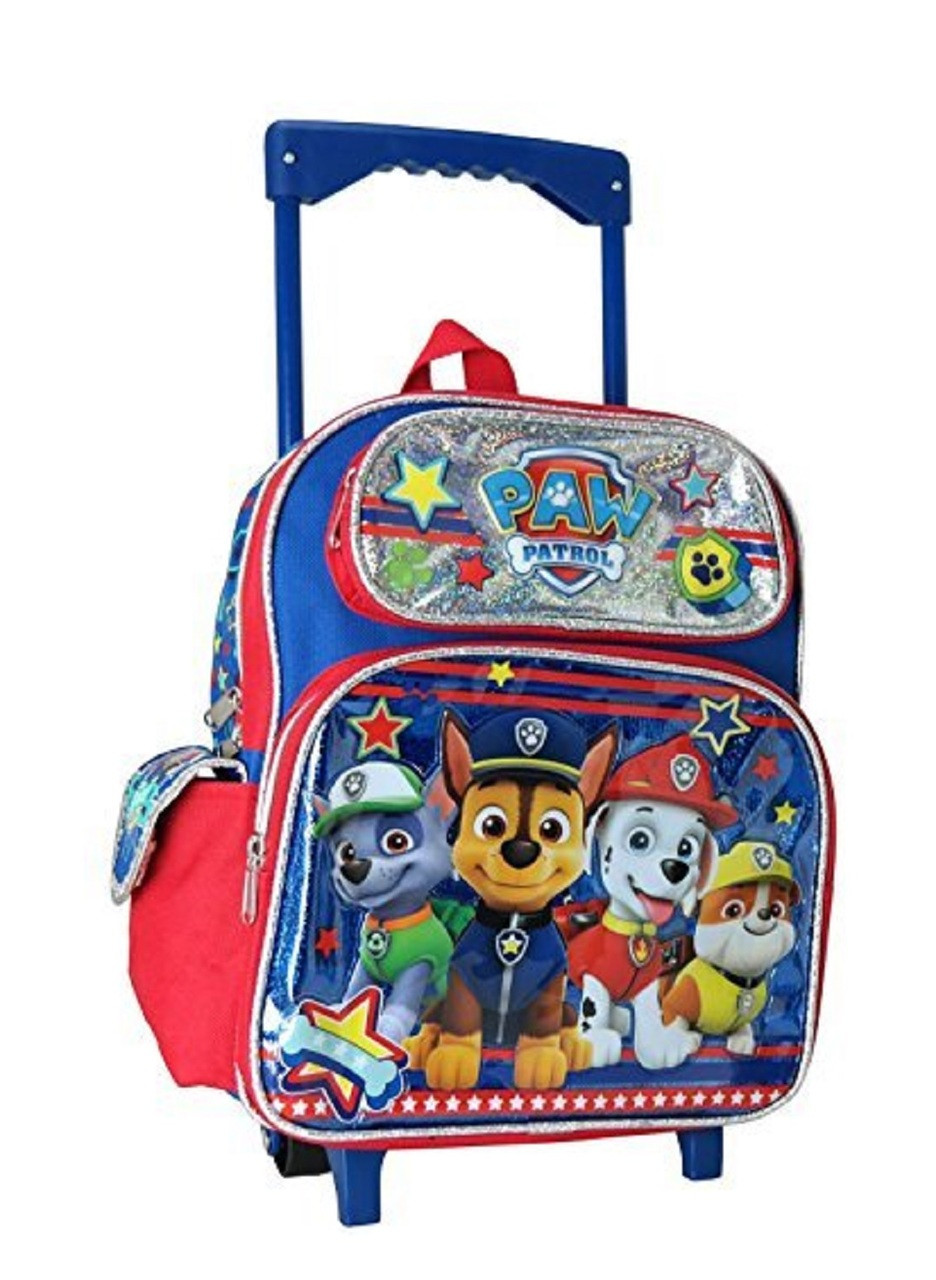 Paw Patrol Small 12 Inch Rolling Backpack (Chase, Marshall, Rocky and Rubble)