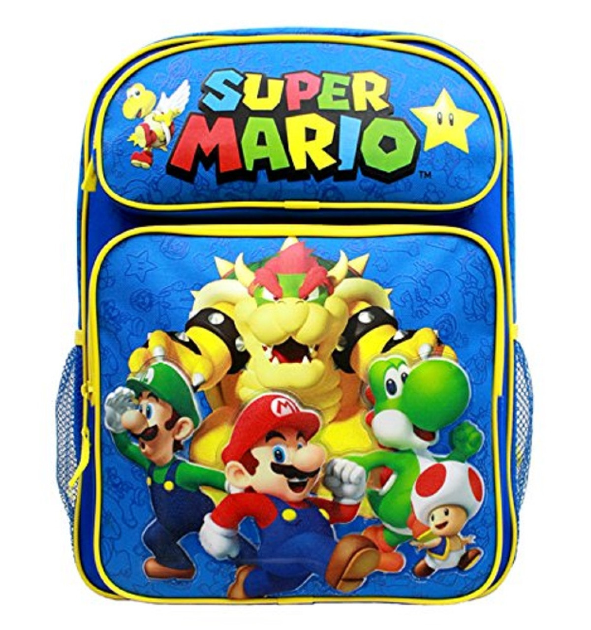 Backpack - Super Mario Brothers - Large 16 Inch - Blue Yellow