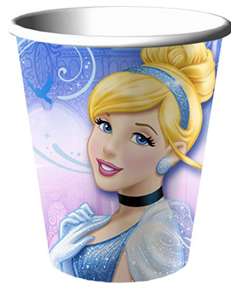Cups - Cinderella - 9oz Paper - 8ct - Sparkle