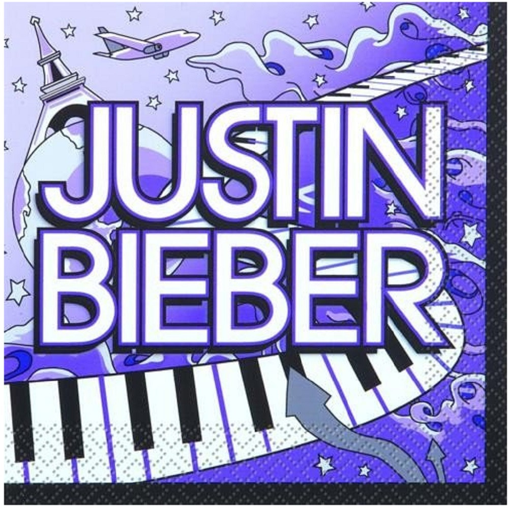 Napkins - Justin Bieber - Small - Paper - 2Ply - 16ct - 10 X 10 in