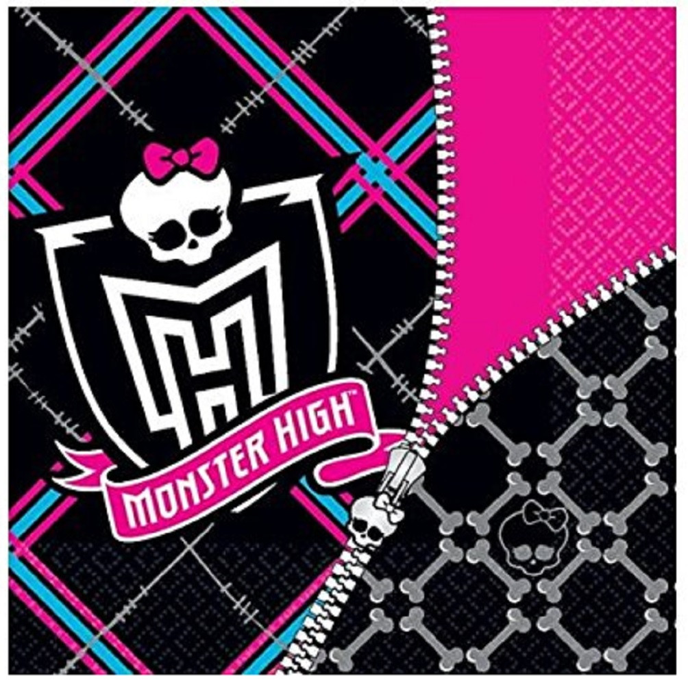 Napkins - Monster High - Large - Paper - 2Ply - 16ct - 13 X 13 in