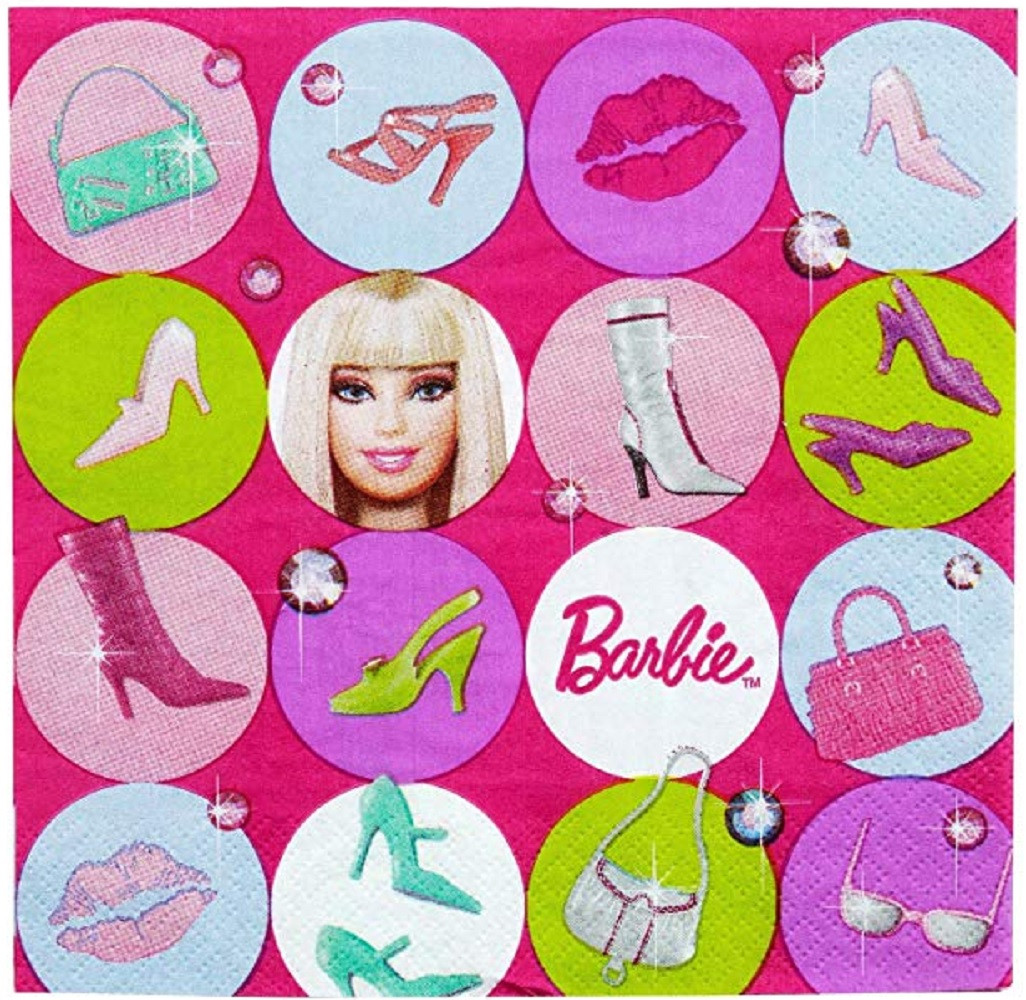 Napkins - Barbie - Large - Paper - 2Ply - 16ct - 13 X 13 in
