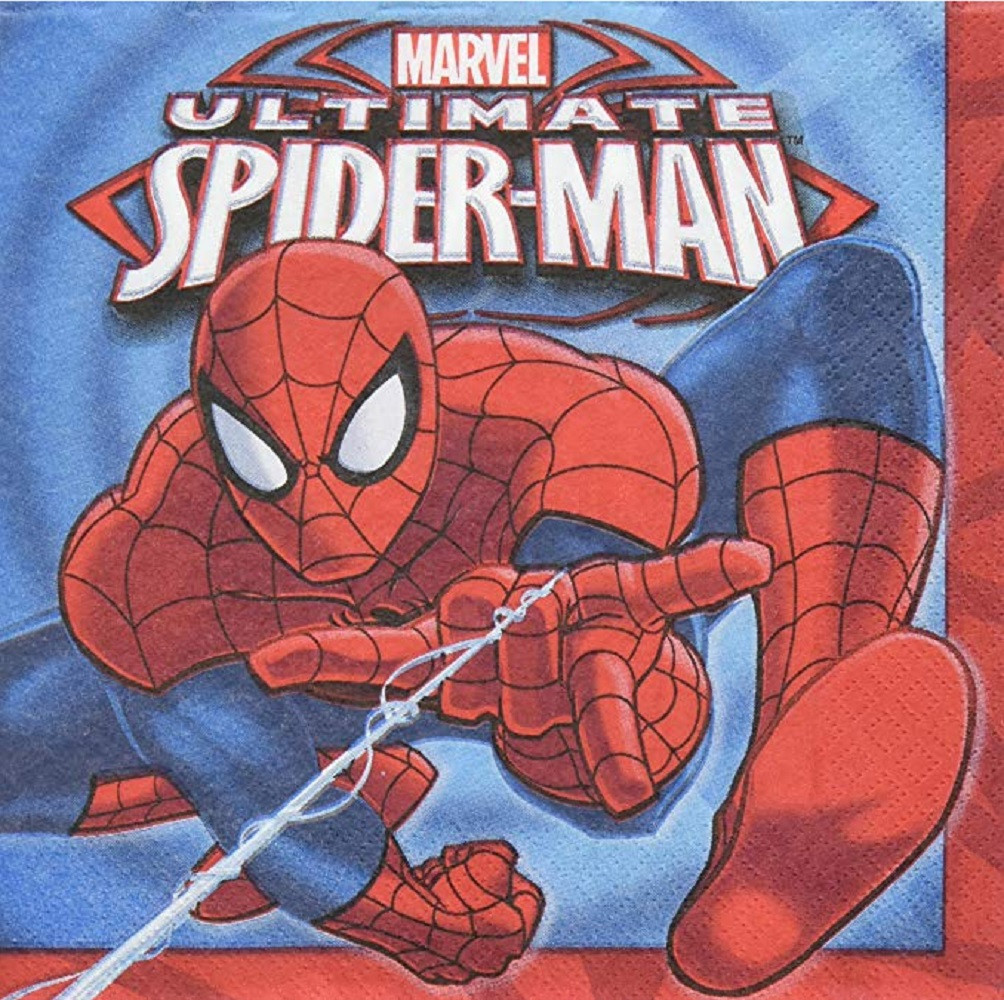 Napkins - Spider-Man - Large - Paper - 2Ply - 16ct - 13 X 13 in