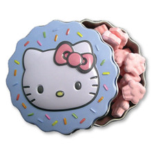 Candies - Hello Kitty - in Mini Tin Cupcake Container - Blue-open