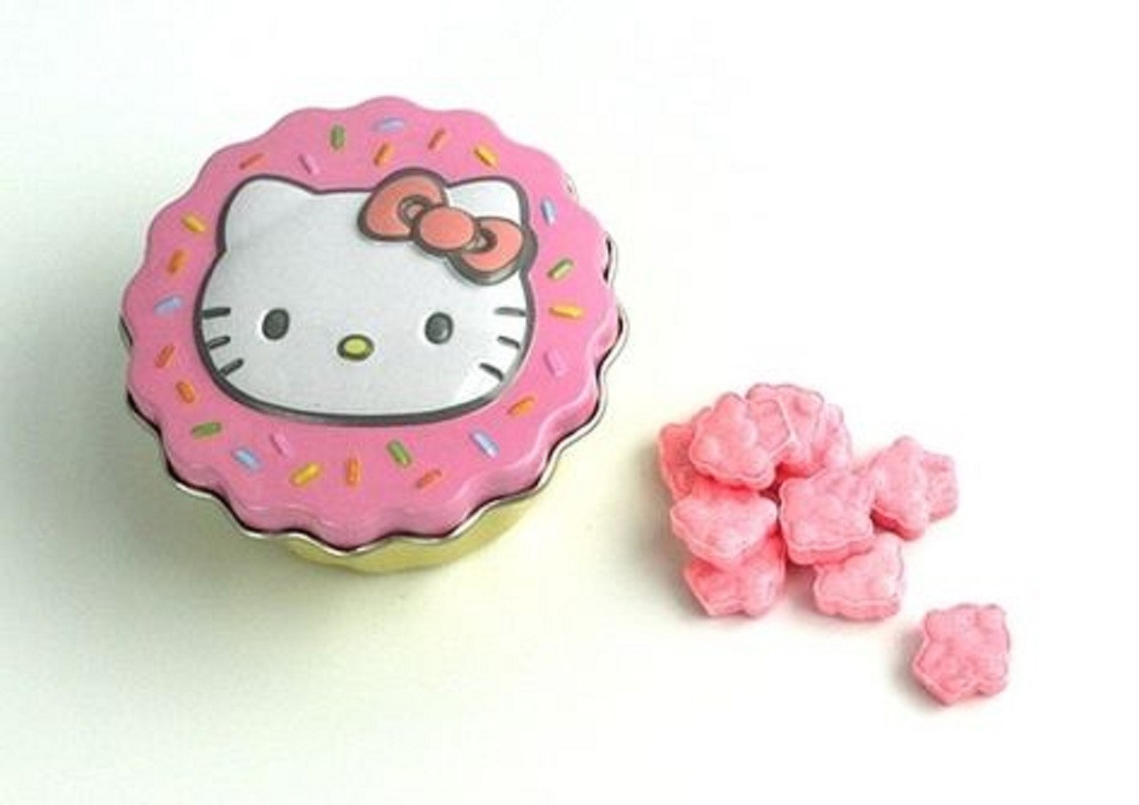 Candies - Hello Kitty - in Mini Tin Cupcake Container - Pink