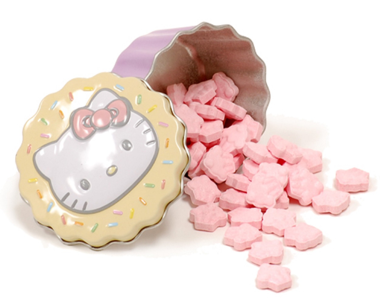 Candies - Hello Kitty - in Mini Tin Cupcake Container - Yellow