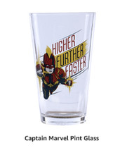 Captain Marvel Pint Glass - Higher, Further, Faster