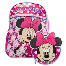 Backpack - Minnie Mouse - Large 16 Inch - w Lunch Box