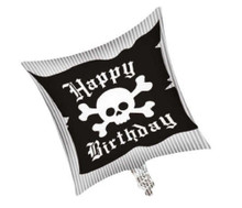 Balloons - Pirate - Helium - 18 Inch - HBD - Blk/Wht