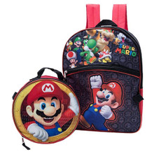 Backpack - Super Mario Brothers - Large 16 Inch - w Lunch Box