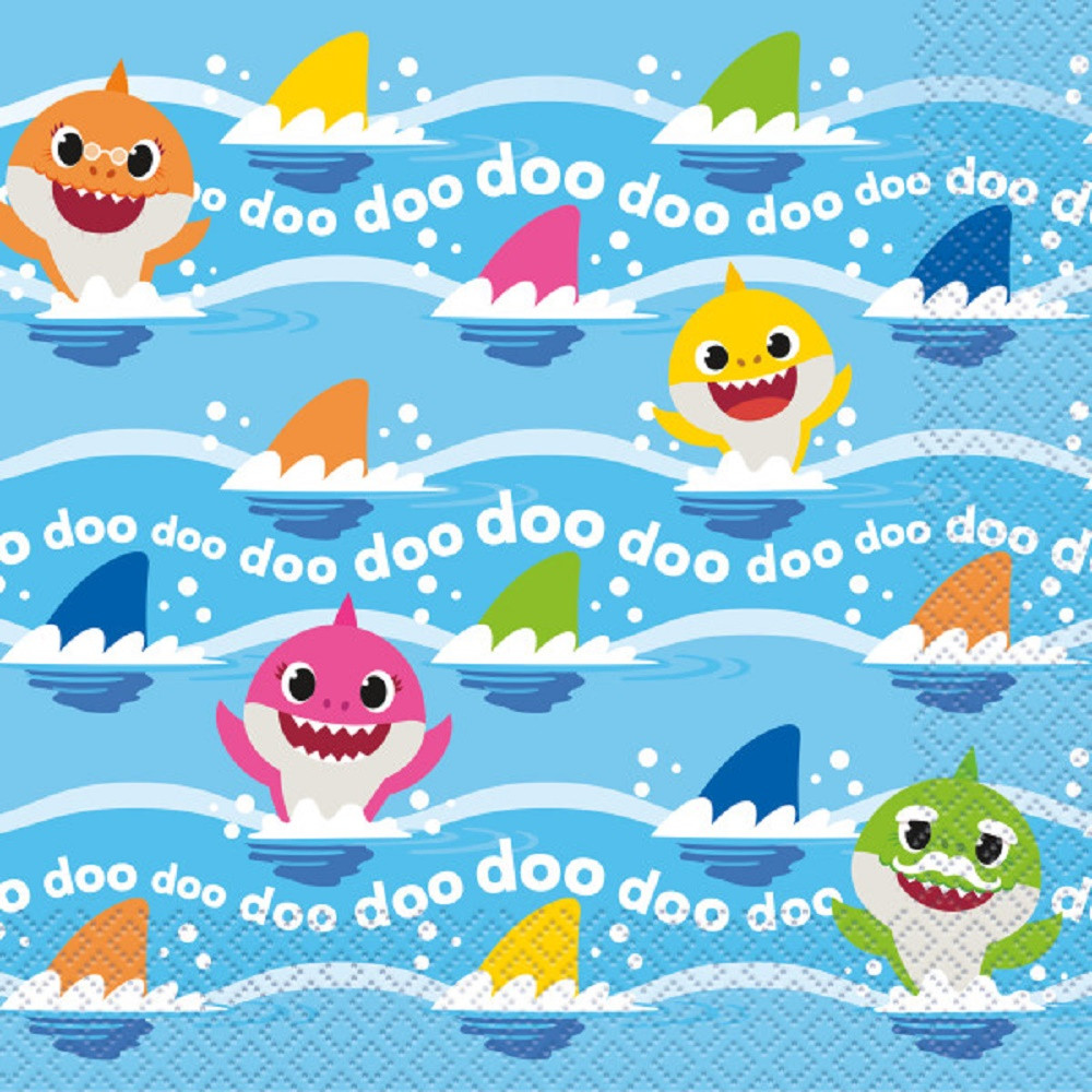 Napkins - Baby Shark - Large 13 Inch - Paper - 2Ply - 16ct