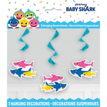Decorations - Baby Shark - Hanging Twirl - 26 Inch - Paper - 3ct
