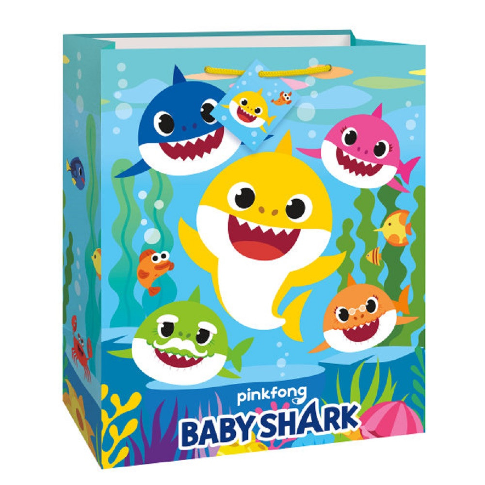 Gift Bag - Baby Shark - Large 12 Inch - Glossy Paper - 1ct