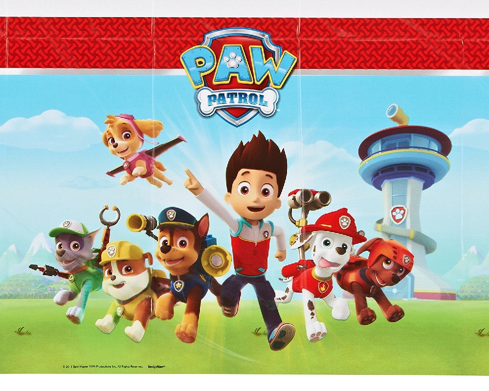 Paw Patrol Plastic Table Cover - w/ boy