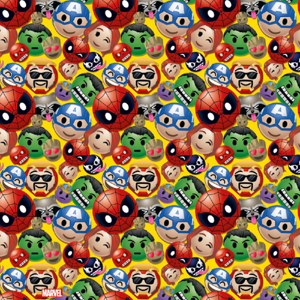 Gift Wrap - Marvel Emoticon - 30 Inch X 5 Ft - Paper - 1 Roll