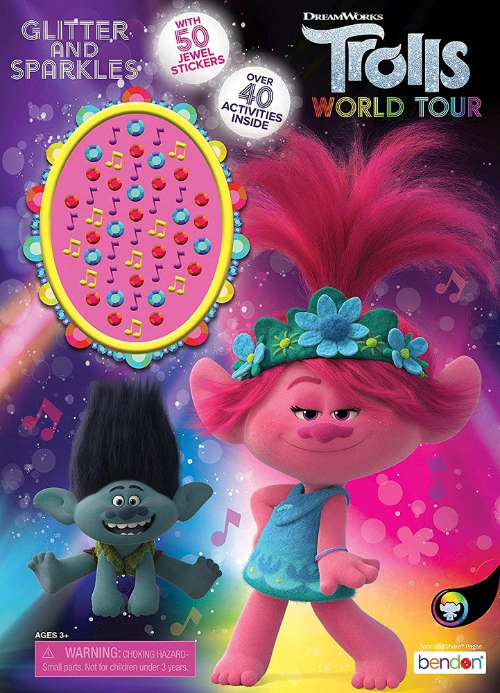 Coloring Book - Trolls - 32P - Coloring and Activity Book w Jewel Stickers