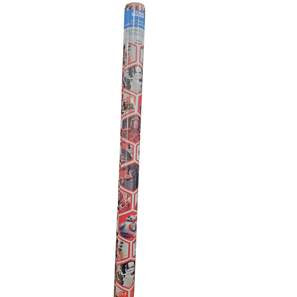 Gift Wrap - Star Wars - White - 39 Inch X 6 Ft - Paper - 1 Roll