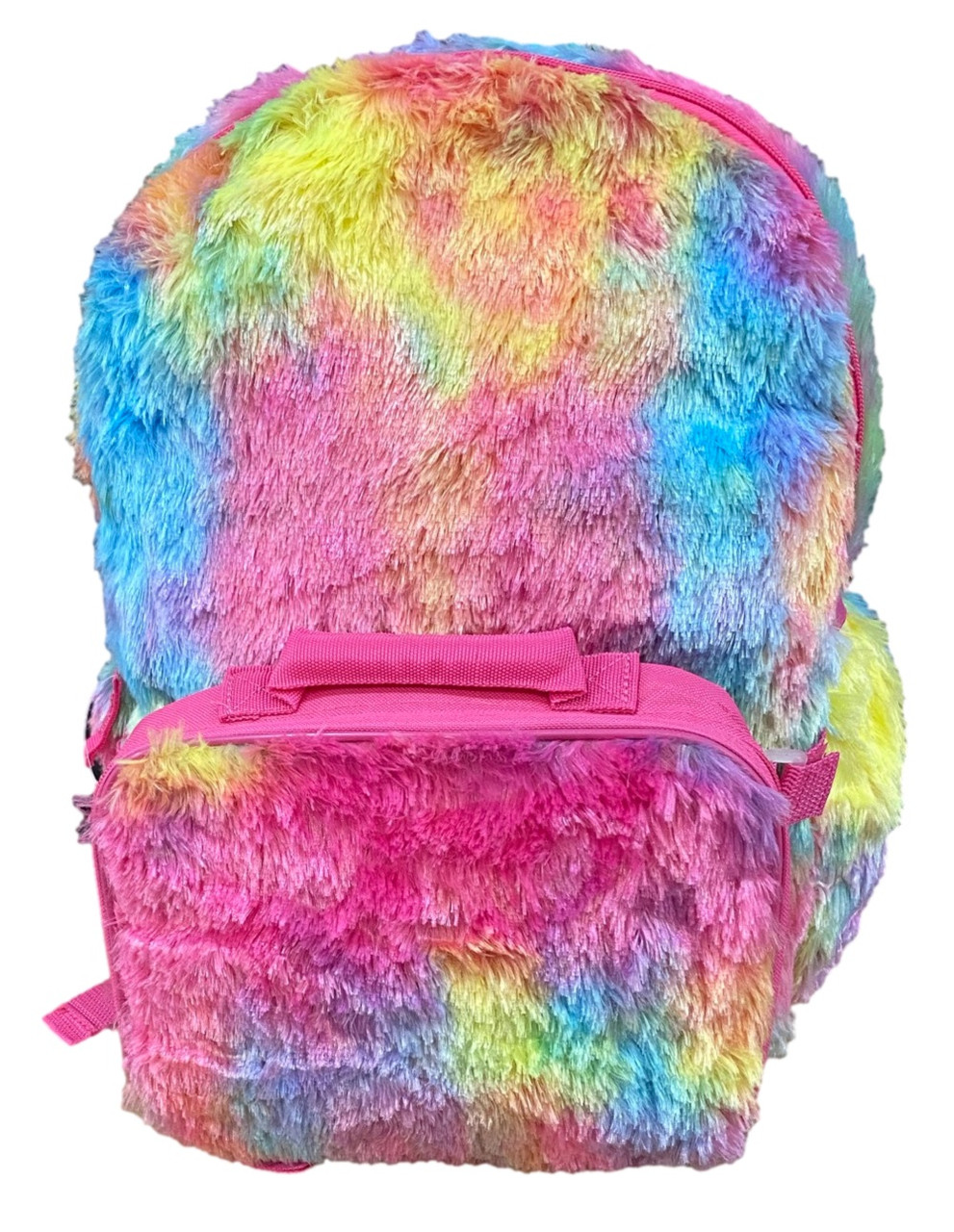 Rainbow Colored Backpack w Lunch Box - Large 16 Inch