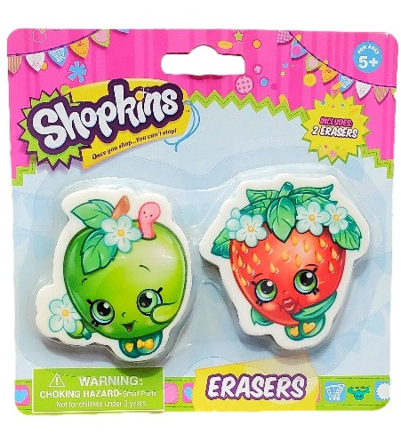 Shopkins - Erasers - Strawberry Kiss & Apple Blossom - Party Favors - 2ct