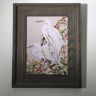 "Egrets on Branch Framed Artwork 21"" x 17"""