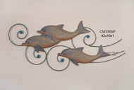 Three Happy Dolphins On Metal Wave