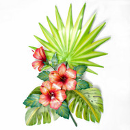 Hibiscus and Palmetto Leaf Spray Metal Wall Art