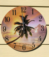 Palm Tree with Sunset Wall Clock 13.5""