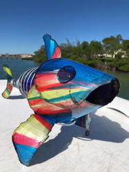 WINE BOTTLE FISH ART